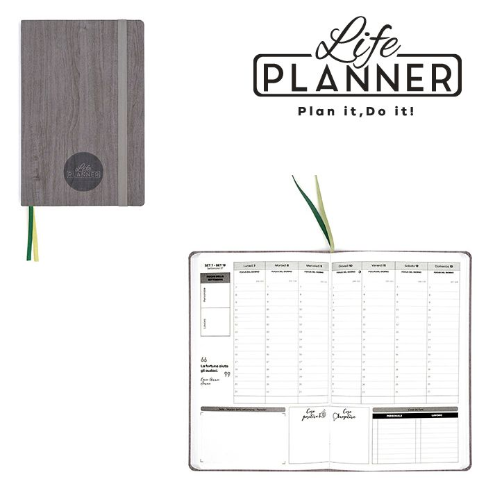 AGENDA A 12mesi Small 1pz Forest wood LIFE PLANNER