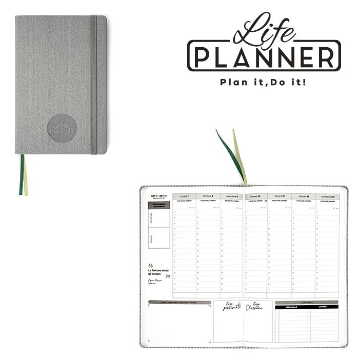 AGENDA A 12mesi Small 1pz Ribbed Grey LIFE PLANNER