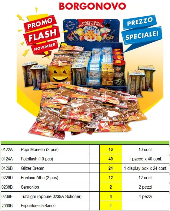 ASSORTIMENTO FUOCHI FLASH EXPO 92pz BORGONOVO