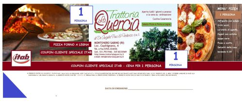 COUPON ROMA MENU' LA QUERCIA 1 PERSONE