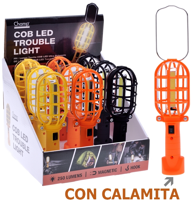 TORCIA LED 250 lumen CON CALAMITA 1pz COLORI ASSORTITI