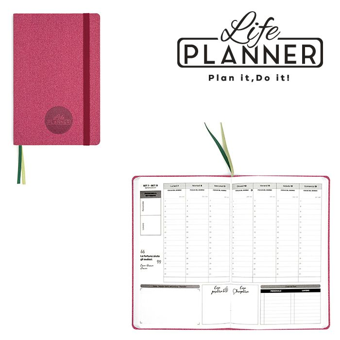 AGENDA A 12mesi Small 1pz Rose Pink LIFE PLANNER